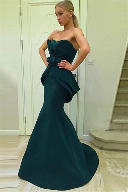Dark Green Mermaid Strapless Evening Dresses | Ruffles Open Back Prom Dresses