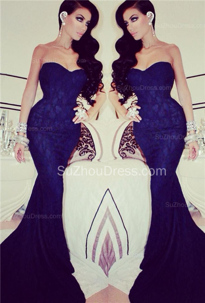 Royal Blue Prom Dresses Sweetheart Ruched Draped Ruffle Memaid Sweep Train Chiffon Evening Gowns