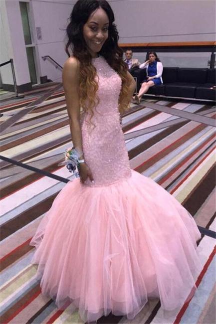 Pink Mermaid Tulle Prom Dresses Sleeveless Halter Evening Dresses