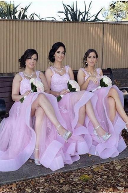 Appliques Elegant A-Line Lace Tulle Straps Bridesmaid Dresses