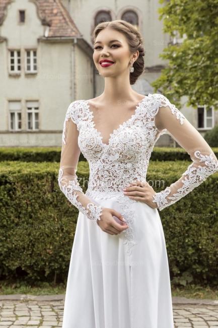 Most Popular Lace Chiffon Bridal Dress Appliques Side Slit Long Sleeve Sweep Train  Wedding Dress
