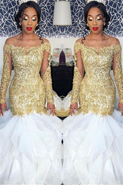 Long Sleeve Gold Lace Appliques  Prom Dress | Sexy Ruffles Mermaid Evening Gown  FB0328