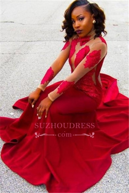 Appliques Lace High-Neck Long-Sleeve Red Sheath Poprlar Prom Dress