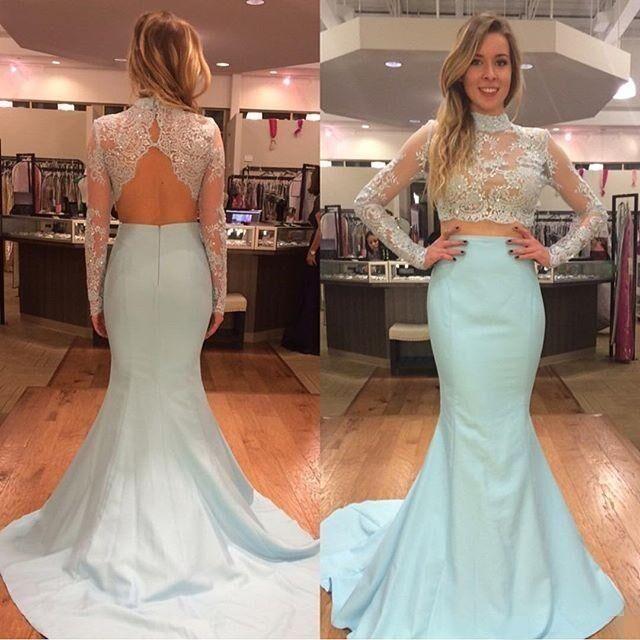 High Collar Mermaid Two Piece Prom Dress Elegant Long Sleeve Lace  Evening Dresses
