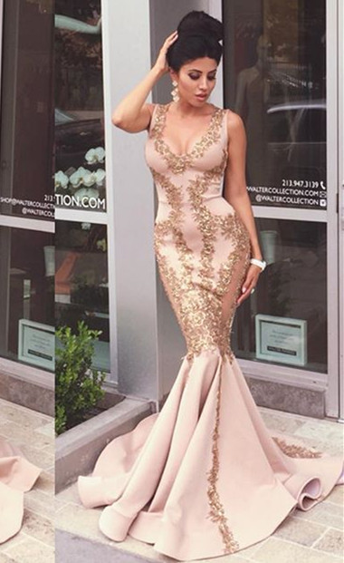 Sexy Mermaid Applique Evening Gown Sleeveles Zipper Sweep Trian  Prom Dress NB042