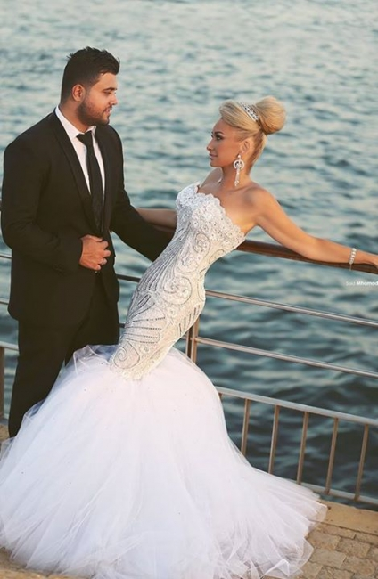 Crystal Beading Mermaid Tulle Wedding Dress with Detachable Train Luxurious Sweep Train Bridal Gowns MH045