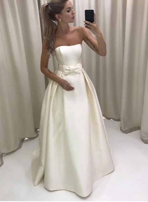 Strapless A-line Elegant Wedding Dresses  New Arrival Sleeveless Bridal Gowns with Bowknot