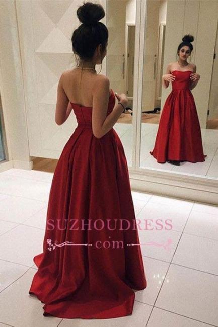 Strapless Formal Dress  A-line Sleeveless Red Elegant Floor length Prom Dress BA6462