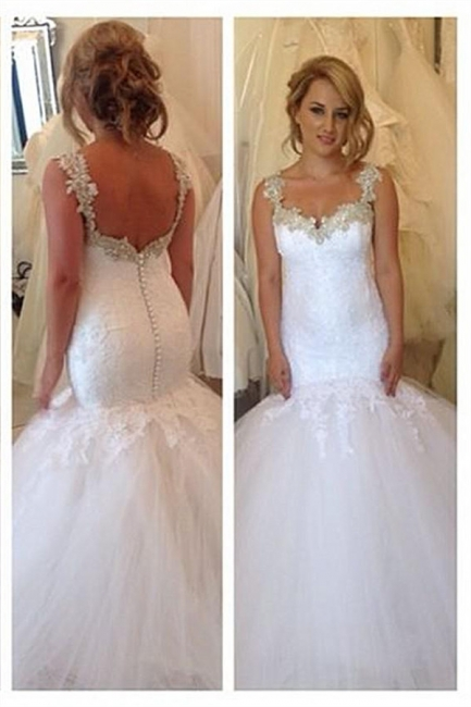 Exquisite Lace Appliques Wedding Dresses Open Back Mermaid Bridal Gowns