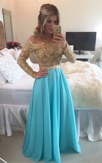 A-Line Long Sleeve Chiffon  Prom Dress Floor Length Beading Party Dresses