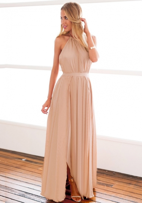 Halter Chiffon Open Back Summer Dress New Arrival Sleeveless Split Long Beach Dresses