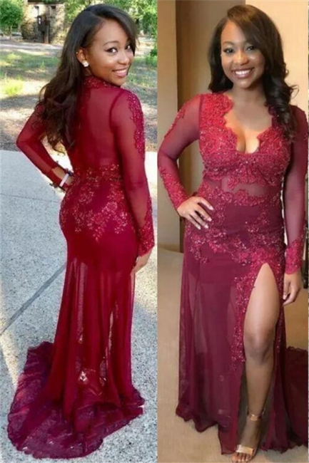 Sexy See Through Lace Prom Dress | Long Sleeve Side Slit Burgundy Evening Gown FB0329