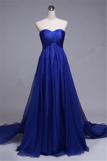 Royal Blue Sweetheart Long Evening Dresses Chiffon Court Train Elegant Formal Dresses