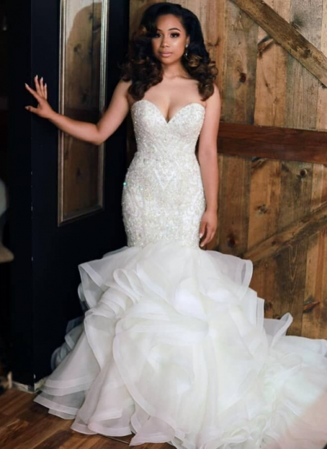 Attractive Mermaid Sweetheart Crystals Wedding Dresses Rhinestones Ruffles Skirt Bridal Gowns On Sale