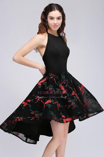 Halter Sleeveless Backless Modern A-line Flowers Homecoming Dress