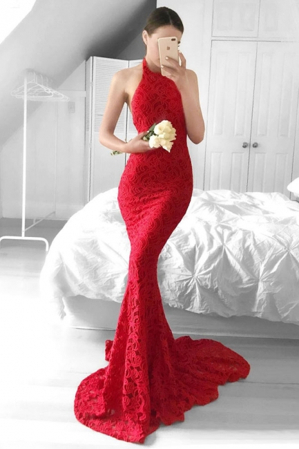 Halter Sheath Red Lace Evening Dress  Backless Mermaid Sexy  Prom Gown