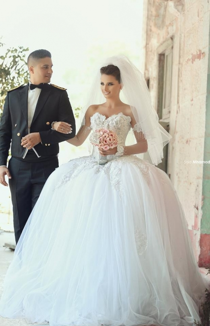 New Arrival Off Shoulder Ball Gown Princess Dress Long Sleeve Flower Plus Size Bridal Gown