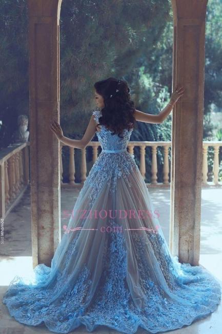 Blue A-line 3D-Floral Appliques Luxury Sleeveless Prom Dresses BA4715