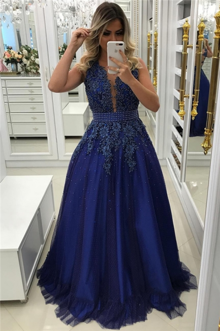 Royal Blue Beads Appliques Prom Dress Sleeveless Sheer Back Formal Evening Dress with Bowknot