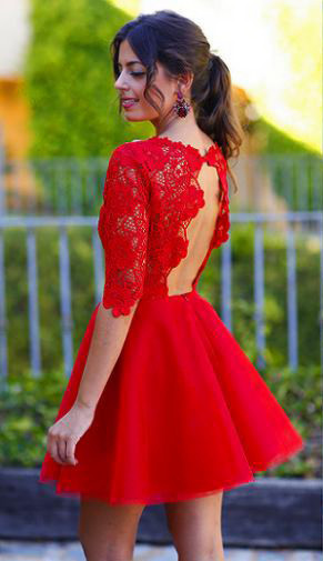 Elegant Lace Red Half Sleeve Short Homecoming Dress New Arrival Halter Mini Cocktail Dress