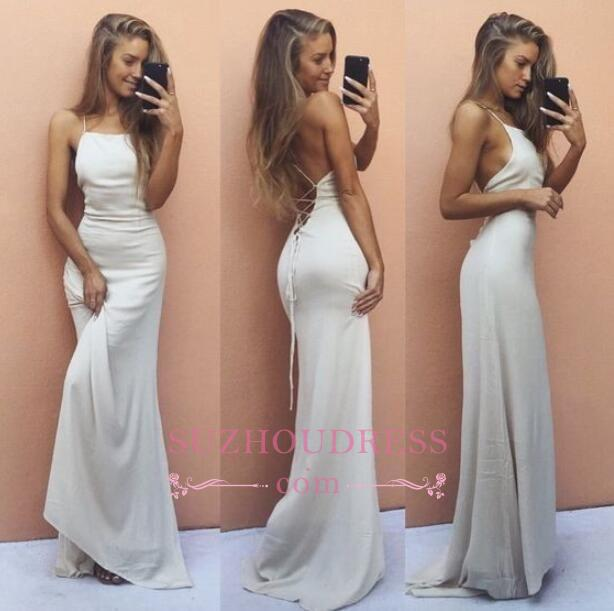 White Backless Sleeveless Formal Dress  Sexy Mermaid Spaghetti Strap  Prom Dress BA6016