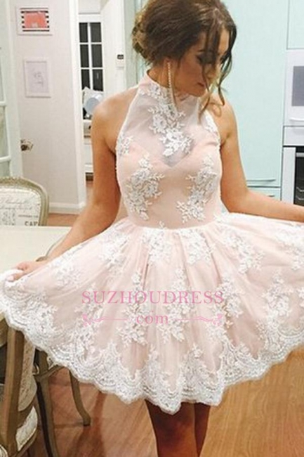 Lovely Short High Neck Lace Sleeveless  Homecoming Dress