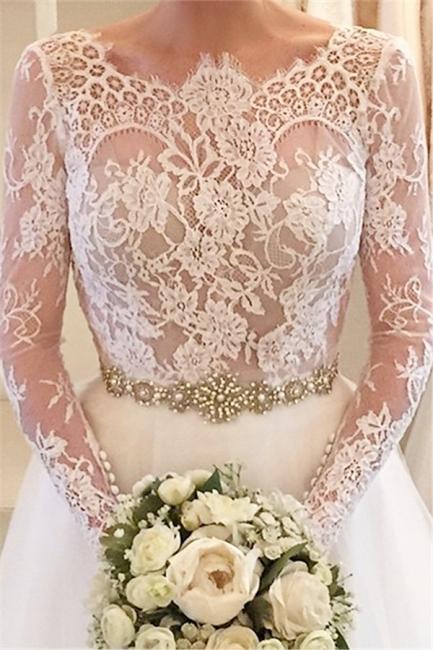 Formal White Lace Long Sleeve Bridal Gown Elegant Crystal Court Train Wedding Dress