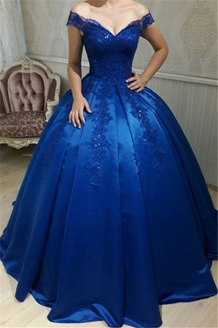 Off The Shoulder Royal Blue Evening Dresses  | Beads Lace Puffy Sexy Formal Dress