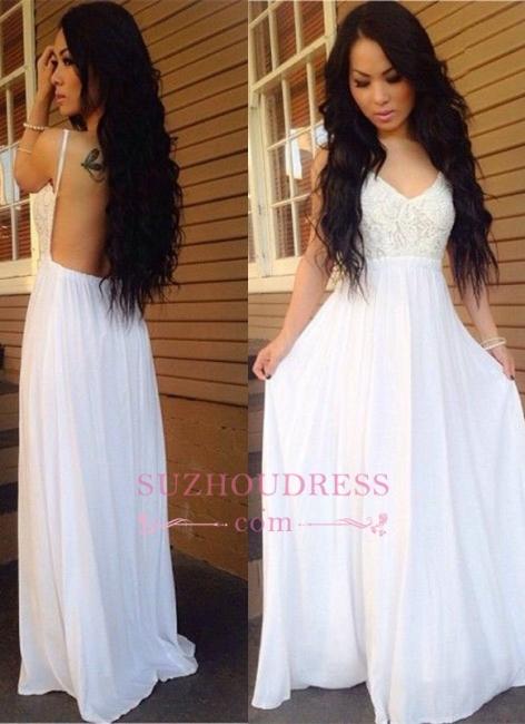 White Backless  Ball Dress Lace Spaghetti-Strap A-line Chiffon Newest Prom Dress