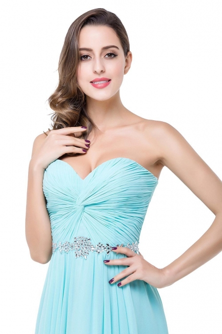 Sweetheart Blue Chiffon Bridesmaid Dresses   Evening Dress