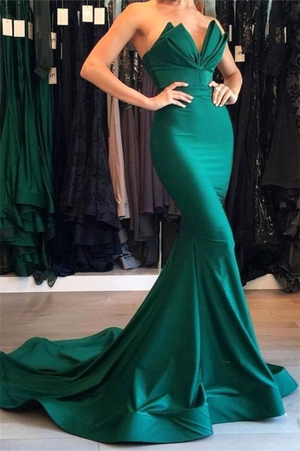 Sexy Mermaid Strapless Green Prom Dresses  Mermaid Simple Evening Gowns
