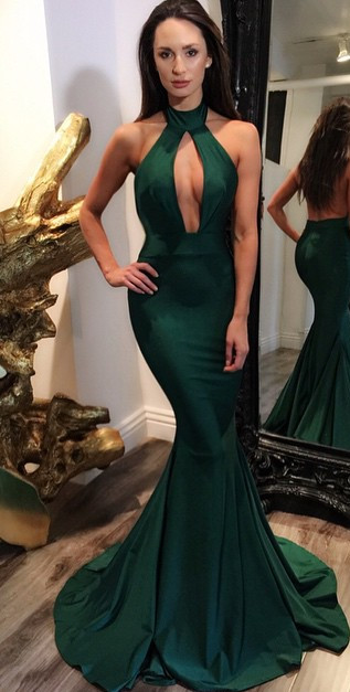 Dark Green Halter Key Hole Evening Dresses Backless  Mermaid Prom Gowns CE0028