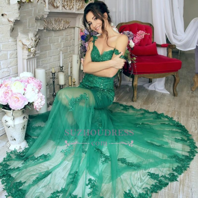 Appliques Green Evening Dress Mermaid Sheer Skirt Gorgeous  Off-the-Shoulder Prom Dress