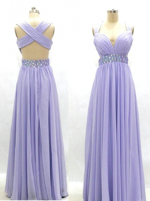 Lavender Empire Chiffon Long Prom Dress Crystal Ruffles Cross Back Formal Occasion Dress
