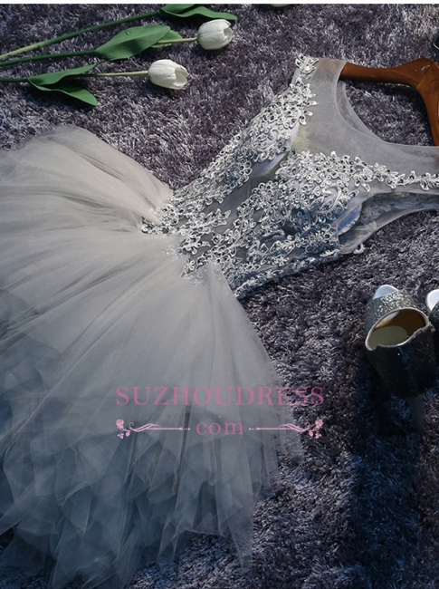 Lace-Appliques Short Puffy Sleeveless Illusion Cute Homecoming Dress BA7133