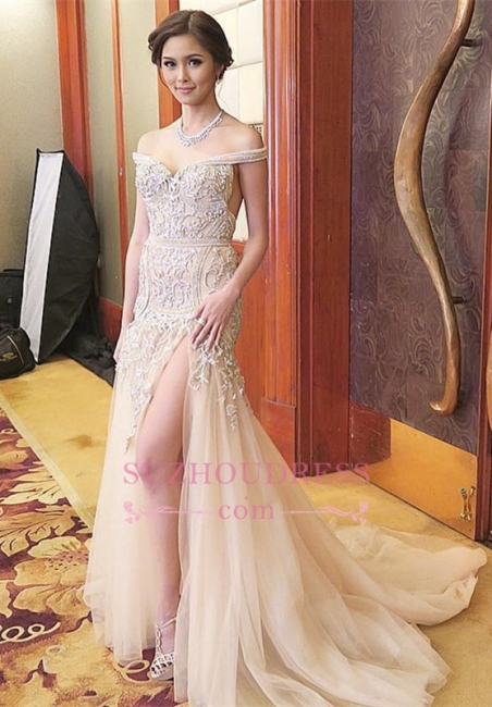 Off-the-shoulder Delicate Sweep-Train Mermaid Front-Split Prom Dress