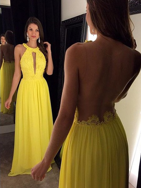 New Arrival A-Line Yellow Prom Dress Chiffon Floor Length Lace Evening Gowns