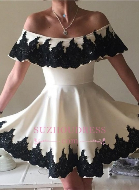 Black Lace White Mini Cocktail Dress Modern Off-the-shoulder   Homecoming Dress