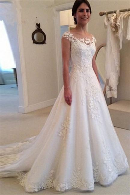 A-line Lace Tulle Wedding Dresses  Vestido de noiva Buttons Elegant Bride Dress