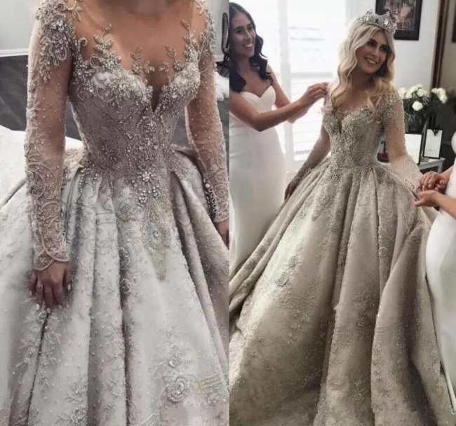 Affordable Sheer Tulle Crystal Beads Wedding Dresses Long Sleeve Lace Bridal Gowns Online