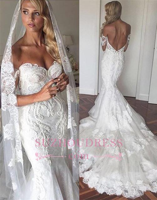 Off The Shoulder Elegant Mermaid Wedding Dress Tulle Backless Appliques  Bride Dress
