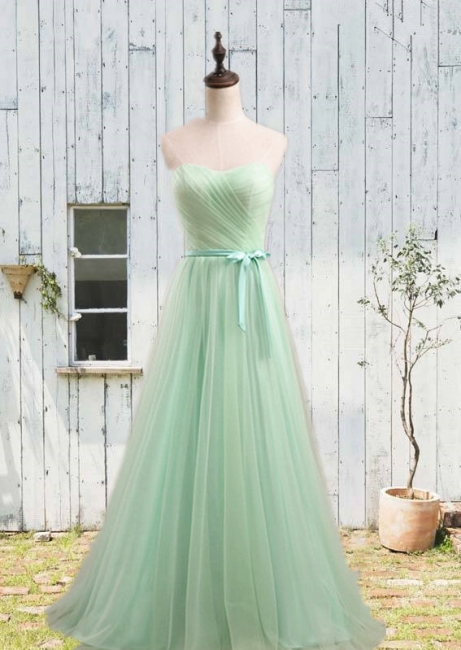 Simple Sweetheart Sash  Prom Gowns Elegant Lace-Up Bridesmaid Dresses