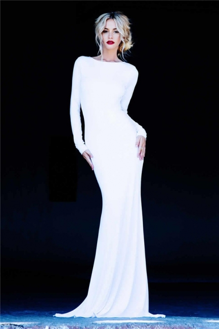 Long Sleeve Sheath Sexy Evening Dresses  Open Back Sweep Train Prom Gowns