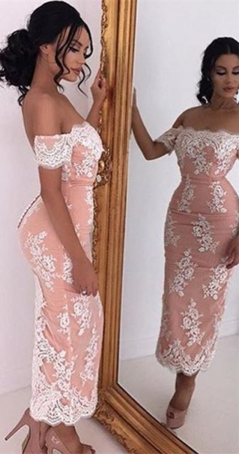Short Sleeve Mermaid Ankle Length Evening Gown Off the Shoulder Lace Party Dresses BA3632
