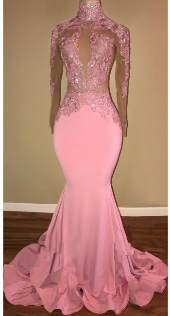 Candy Pink  Long Sleeve Prom Dress Lace Mermaid Open Back Sexy Evening Gown BA7959