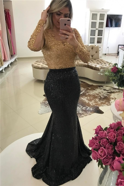 Shiny Black Sequins Evening Gowns Mermaid Gold Beads Appliques Long Sleeve Prom Dress