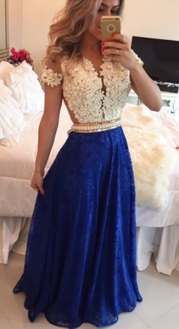 Short Lace Sleeve Long Prom Dress  Pearl Belt Latest Evening Dress BMT009