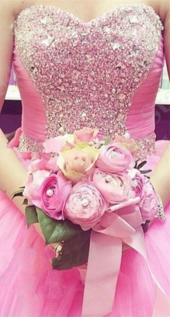 Lovely Candy Pink Sweetheart Ball Gown Quinceanera Dress Beads Crystals Plus Size Formal Dress