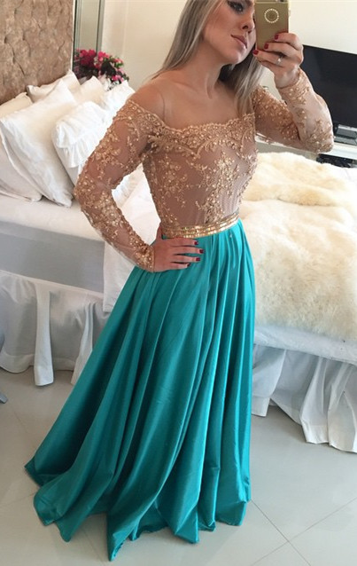 Gorgeous Lace Long Sleeve Evening Gown A-Line Satin Natural Prom Dresses