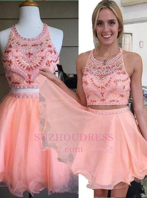 Coral Crystals Two Piece Party Dressess Beading Organza Mini  Halter Homecoming Dress